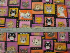 Flannel Meow Kitten Cat Block Fabric BTY by yard 36x44 goldfish pink black quilt