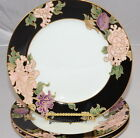 Fitz & Floyd * Cloisonne Peony Black * 3 Salad Plates * Mint Condition!