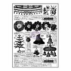 Prima Sweet Peppermint Collection Clear Acrylic Stamps NEWSPAPER Ads Christmas