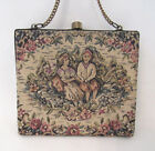VINTAGE 1920s 30s? FRENCH TAPESTRY EVENING BAG VICTORIA SCENE FLOWERS BRASS