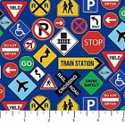 Connector Playmats cotton quilt fabric by Northcott Traffic Signs on Blue
