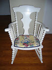 Antique Original Painted White Victorian Spindle Wood Rocking Chair Rocker