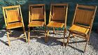 Vintage Mid Century Oak Wooden Folding Chairs - Lot of 4 - Nice!