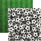 Reminisce SOCCER BALLS 12x12 Dbl Sided 2pc Scrapbooking Paper