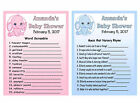 20 ELEPHANT BABY SHOWER GAME CARDS PERSONALIZED