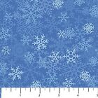 Woodland Winter cotton Quilt fabric by Northcott Snow Flakes on Blue