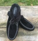 Women s Nickels Brand Size 9 Black Suede Leather Faux Fur Clogs Slides Shoes