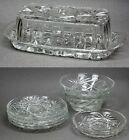 Lot of 8 Pieces ANCHOR HOCKING EARLY AMERICAN PRESCUT GLASS BOWLS PLATES BUTTER
