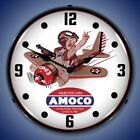 AMOCO AVIATION TESTED GASOLINE AIRPLANE LED LIGHTED WALL CLOCK ADVERTISING - NEW