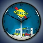 SUNOCO GAS SERVICE STATION LED LIGHTED WALL CLOCK MAN CAVE GAME ROOM SIGN - NEW