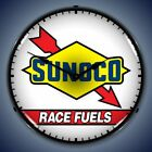 SUNOCO RACE FUELS RACING BACKLIT LED LIGHTED WALL CLOCK RETRO MAN CAVE USA - NEW