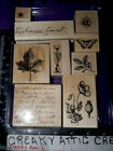 STAMPIN UP BOTANICALS 9 RUBBER STAMPS SCRIPT FLOWERS BEE BUTTERFLY POPPY