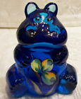 Fenton Glass 2009 Blue Lagoon Handpainted Whispers 3 1 4 Hippo