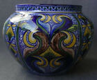HUGE 1920 FRANCESCO NONNI PAOLO ZOLI ITALIAN CERAMIC VASE 10 IN DIAMETER