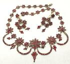 ANTIQUE BOHEMIAN VICTORIAN ROSE CUT GARNET EMPRESS SWAG NECKLACE  EARRINGS