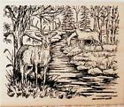 Northwoods Rubber Stamp Buck With Two Does By Stream Nature Animal Deer
