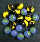 20 - 5/8 Inch Marble King Bumble Bee & Blue Bird Marbles