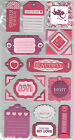 wrmk CRAZY4YOU TAGS 21 LAYERED CHIPBOARD STICKERS w GLITTER scrapbooking