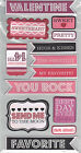 wrmk CRAZY4YOU WORDS 13 LAYERED CHIPBOARD STICKERS w GLITTER scrapbooking
