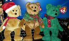 3 TY Beanie Holiday Babies 1997 Teddy, Wallace, and hollydays with tags