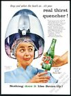1956 beauty salon hair dryer woman photo 7up 7-Up soda vintage print ad