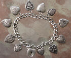 VINTAGE ANTIQUE STERLING SILVER 11 REPOUSSE PUFFY HEART CHARM BRACELET + PADLOCK