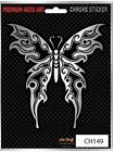 Tribal Butterfly Car Sticker Chrome Tattoo style Auto Decal