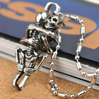 Stainless Steel Skeleton Skull Pendant Necklace Chain Punk Gothic Lovers Jewelry