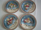 Oneida Debbie Mumm Snow Angel Village Snowman Dessert Salad Plates Set Lot of 4