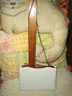 VTG 1940s WHITE PATENT LEATHER FAUX PEARL BEAD CLASP EVENING PURSE CHAIN CLUTCH