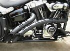 Bassani Black Radial Sweepers Exhaust Pipes Holes Heatshields Harley Softail FXD