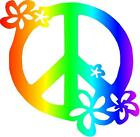 Rainbow Peace Sign Flower Decal Vinyl Home Decor Wall Car Truck Hippie Sticker