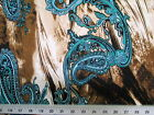 Discount Fabric Printed Lycra Spandex Stretch Turquoise Paisly Storm Cloud A401