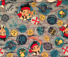 A DISNEY JAKE TO PIRATE BOY WITH CAPTAIN HOOK TOSSED FLEECE FABRIC BY THE YARD