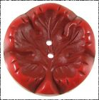 Vintage Painted  Buffed Leaf Button Two Shades of Red