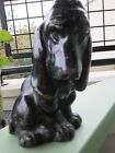 #2 ANTIQUE GALVANO BRONZE CLAD BASSET HOUND DOG ART STATUE BOOKEND (1)