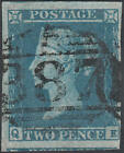 1841 SG14 2d BLUE PLATE 4 VERY FINE USED HUDDERSFIELD 387 CANCELLATION QE