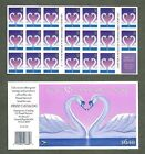 BJ Stamps 3123a 32 Love Swans Heart Plate B1111 Mint pane of 20 1997