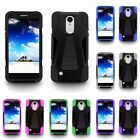 For LG Aristo LV3 MS210 Dual Layer Hard Soft Kickstand Case Phone Cover