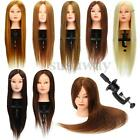 """"""" 100% Real Hair Practice Training Head Mannequin Hairdressing Doll + Clamp US"""