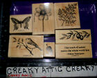 STAMPIN UP TOUCH OF NATURE 7 RUBBER STAMPS FERN BUTTERFLY BIRD DAISY ACCORN
