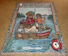 Boyds Bears Bearly Floatin' Fishing Tapestry Afghan Throw