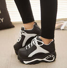 Womens Platform Round Toe Lace Up Sneakers Ankle Boots Creepers Chunky Shoes Sz