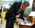 Obama Signs Letter in Diplomatic Reception Room 11x14 Silver Halide Photo Print