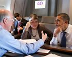 OBAMA WITH JANET NAPOLITANO ON AIR FORCE ONE 11x14 SILVER HALIDE PHOTO PRINT