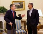 OBAMA AND GEORGE H.W. BUSH IN OVAL OFFICE 11x14 SILVER HALIDE PHOTO PRINT