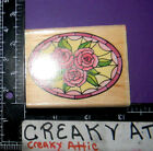 STAINED GLASS ROSES OVAL RUBBER STAMP STAMPEDE A1248E FLOWERS