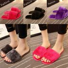 New Women House Home Flats Anti slip Fluffy Indoors Soft Slipper Open Toe Shoes