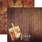 Paper House FINER THINGS 12x12 Dbl Sided Scrapbook 2pc Paper WINE CHEESE GRAPE