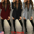 New Women Choker V Neck Casual Loose Long Tops T Shirt Lace up Plunge Mini Dress